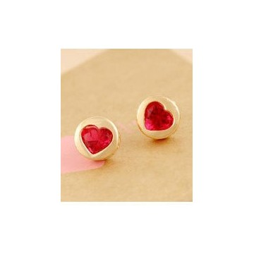 Gold plated pink heart  studs