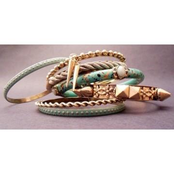 Set of golden blue bangles